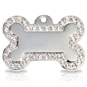 Kaiverrettu koiran nimilaatta - Glamour hopeoitu ISO luu, kirkkaat strassit