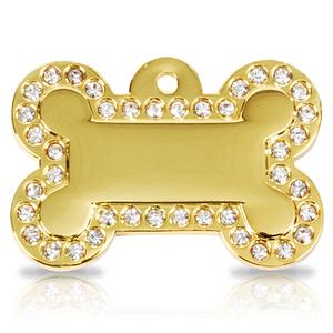 Kaiverrettu koiran nimilaatta - Glamour kullattu ISO luu, kirkkaat strassit