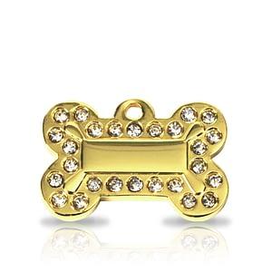 Kaiverrettu koiran nimilaatta - Glamour kullattu pieni luu, kirkkaat strassit