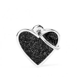Kaiverrettu koiran nimilaatta - GLITTER pieni sydän, musta