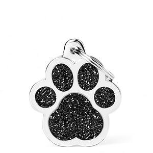 Kaiverrettu koiran nimilaatta - GLITTER ISO tassu, musta