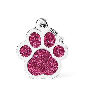 Kaiverrettu koiran nimilaatta - GLITTER ISO tassu, pinkki