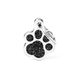 Kaiverrettu koiran nimilaatta - GLITTER pieni tassu, musta