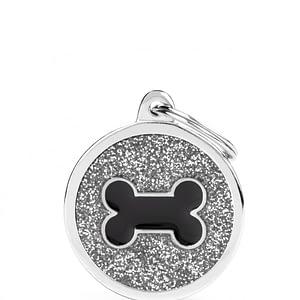 Kaiverrettu koiran nimilaatta - GLITTER ISO ympyrä luu kuviolla, harmaa