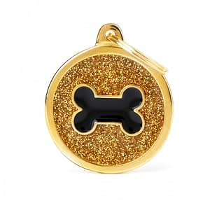 Kaiverrettu koiran nimilaatta - GLITTER ISO ympyrä luu kuviolla, kulta