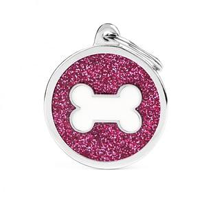 Kaiverrettu koiran nimilaatta - GLITTER ISO ympyrä luu kuviolla, pinkki