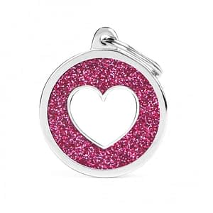 Kaiverrettu koiran nimilaatta - GLITTER ISO ympyrä sydän kuviolla, pinkki