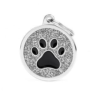 Kaiverrettu koiran nimilaatta - GLITTER ISO ympyrä tassu kuviolla, harmaa