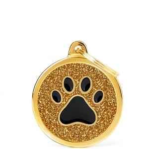 Kaiverrettu koiran nimilaatta - GLITTER ISO ympyrä tassu kuviolla, kulta
