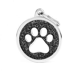Kaiverrettu koiran nimilaatta - GLITTER ISO ympyrä tassu kuviolla, musta