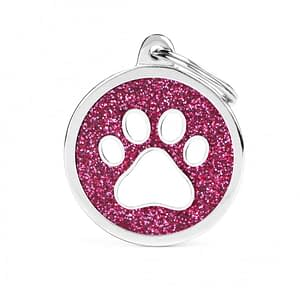 Kaiverrettu koiran nimilaatta - GLITTER ISO ympyrä tassu kuviolla, pinkki
