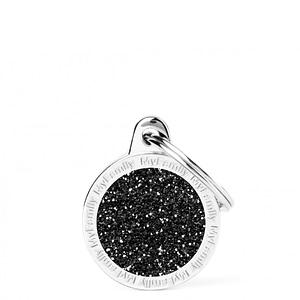 Kaiverrettu koiran nimilaatta - GLITTER pieni ympyrä, musta