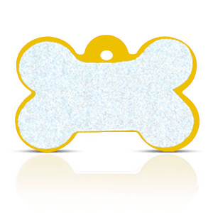 Koiran nimilaatta kaiverruksella - HEIJASTAVA hiline alumiini ISO luu, kulta