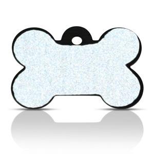 Koiran nimilaatta kaiverruksella - HEIJASTAVA hiline alumiini ISO luu, musta
