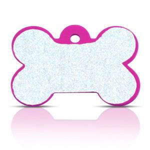 Koiran nimilaatta kaiverruksella - HEIJASTAVA hiline alumiini ISO luu, pinkki