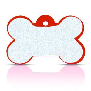 Koiran nimilaatta kaiverruksella - HEIJASTAVA hiline alumiini ISO luu, punainen