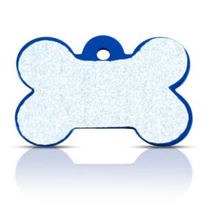 Koiran nimilaatta kaiverruksella - HEIJASTAVA hiline alumiini ISO luu, sininen