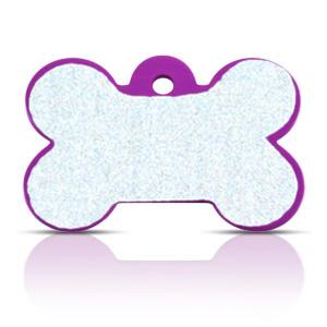 Koiran nimilaatta kaiverruksella - HEIJASTAVA hiline alumiini ISO luu, violetti