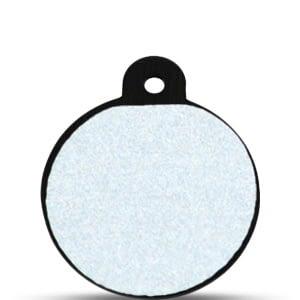 Koiran nimilaatta kaiverruksella - HEIJASTAVA hiline alumiini ISO ympyrä, musta