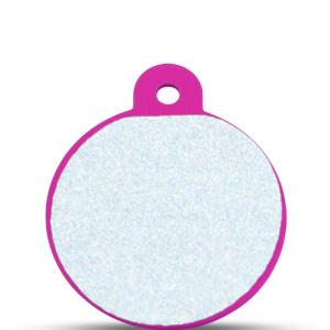 Koiran nimilaatta kaiverruksella - HEIJASTAVA hiline alumiini ISO ympyrä, pinkki