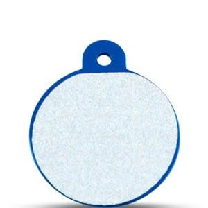 Koiran nimilaatta kaiverruksella - HEIJASTAVA hiline alumiini ISO ympyrä, sininen