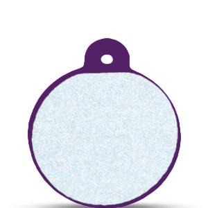 Koiran nimilaatta kaiverruksella - HEIJASTAVA hiline alumiini ISO ympyrä, violetti