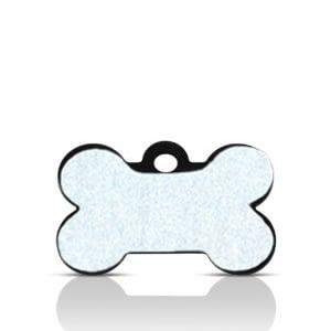 Koiran nimilaatta kaiverruksella - HEIJASTAVA hiline alumiini pieni luu, musta