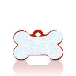 Koiran nimilaatta kaiverruksella - HEIJASTAVA hiline alumiini pieni luu, punainen