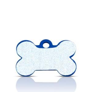 Koiran nimilaatta kaiverruksella - HEIJASTAVA hiline alumiini pieni luu, sininen