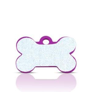 Koiran nimilaatta kaiverruksella - HEIJASTAVA hiline alumiini pieni luu, violetti