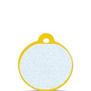 Koiran tai kissan nimilaatta kaiverruksella - HEIJASTAVA hiline alumiini pieni ympyrä, kulta