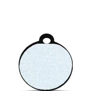 Koiran tai kissan nimilaatta kaiverruksella - HEIJASTAVA hiline alumiini pieni ympyrä, musta