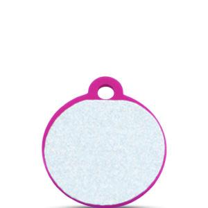 Koiran tai kissan nimilaatta kaiverruksella - HEIJASTAVA hiline alumiini pieni ympyrä, pinkki