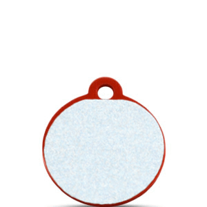 Koiran tai kissan nimilaatta kaiverruksella - HEIJASTAVA hiline alumiini pieni ympyrä, punainen