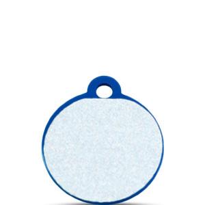 Koiran tai kissan nimilaatta kaiverruksella - HEIJASTAVA hiline alumiini pieni ympyrä, sininen