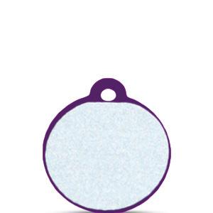Koiran tai kissan nimilaatta kaiverruksella - HEIJASTAVA hiline alumiini pieni ympyrä, violetti
