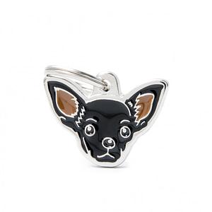 Nimilaatta kaiverruksella - koirarotu-nimilaatta chihuahua musta