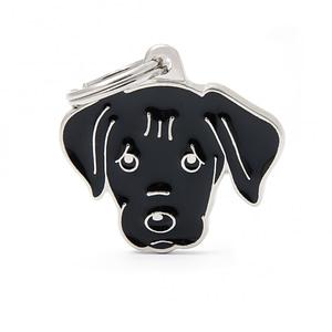 Nimilaatta kaiverruksella - koirarotu-nimilaatta labradorinnoutaja musta