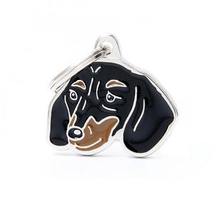 Nimilaatta kaiverruksella - koirarotu-nimilaatta mäyräkoira musta
