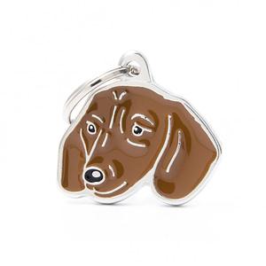 Nimilaatta kaiverruksella - koirarotu-nimilaatta mäyräkoira ruskea