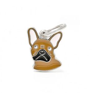Nimilaatta kaiverruksella - koirarotu-nimilaatta ranskanbulldoggi ruskea