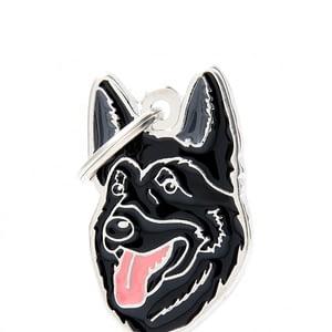 Nimilaatta kaiverruksella - koirarotu-nimilaatta saksanpaimenkoira musta