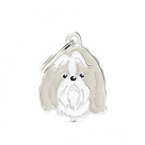 Nimilaatta kaiverruksella - koirarotu-nimilaatta shihtzu harmaavalkoinen