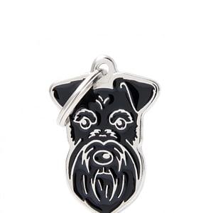 Nimilaatta kaiverruksella - koirarotu-nimilaatta snautseri musta