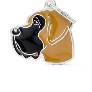 Nimilaatta kaiverruksella - koirarotu-nimilaatta tanskandoggi ruskea