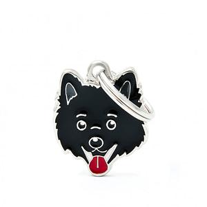 Nimilaatta kaiverruksella - koirarotu-nimilaatta volpino italiano musta
