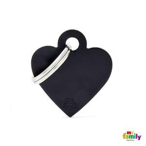 Koiran tai kissan nimilaatta kaiverruksella - EXTRA vahva Alumiini pieni sydän, musta