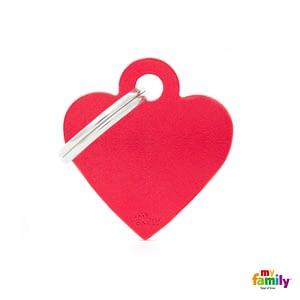 Koiran tai kissan nimilaatta kaiverruksella - EXTRA vahva Alumiini pieni sydän, punainen