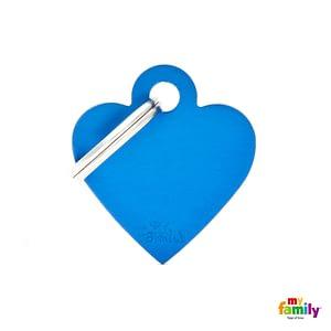 Koiran tai kissan nimilaatta - EXTRA vahva Alumiini pieni sydän, sininen