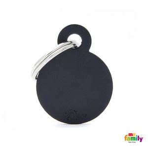 Koiran tai kissan nimilaatta kaiverruksella - EXTRA vahva Alumiini pieni ympyrä, musta